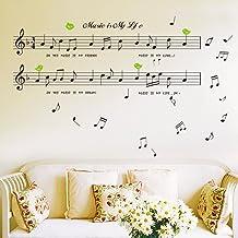 Kicode Adesivi da Muro Grande Nota di Musica Nero Decorativo Bricolage Art Removibile Decorazione Domestica della Stanza da Letto di Soggiorno