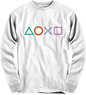 Total Basics Playstation Buttons - Games, Gamer - Premium White Long Sleeve Shirt