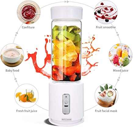 Portable Blender [2019 Upgraded Automatic Clean] Personal Travel Juicer Bottle - 400ml Mini USB Fruit Shakes Smoothie Juicer Mixer for Outdoor Camping Office