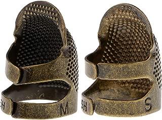 Baoblaze 2Pcs Adjustable Thimble Sewing Quilting Metal LeatherCraft Finger Protector