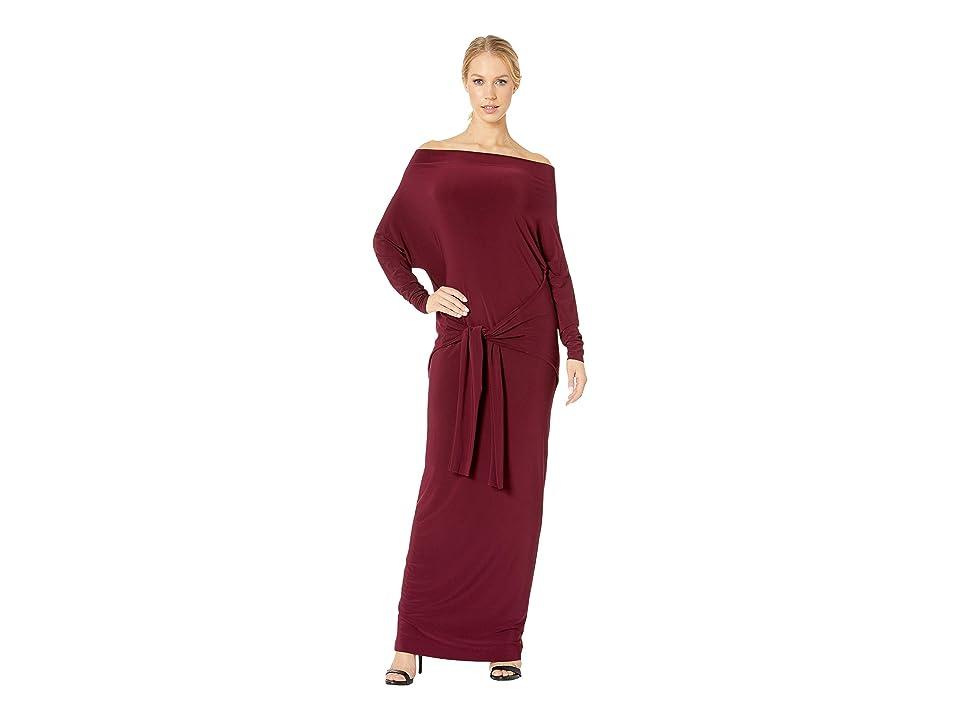 KAMALIKULTURE by Norma Kamali Four Sleeve Off Shoulder Long Dress (Plum) Women