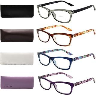 ca7f174fb99b Liansan Designer Readers 4 Pairs Rectangular Plastic Frame Reading Glasses  for Men and Women L3706X(