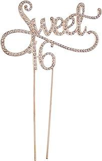 Toyvian 16 décorations de gâteau avec monogramme « Sweet » - Doré - Strass - Numéro 16