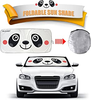 2win2buy Cartoon Car Windshield Sun Shade, Front Auto Car Windshield Sunshade Foldable UV Rays Sun Visor Protector Unique Design to Keep Your Vehicle Cool Damage Free (Panda)