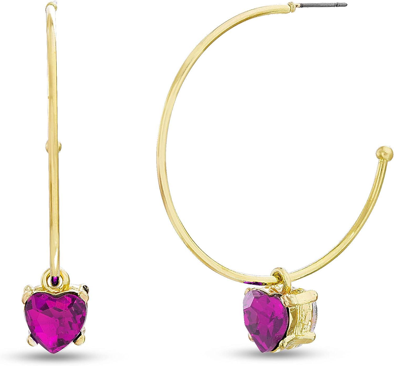 Steve Madden Rhinestone Heart Dangle Hoop Earrings for Women