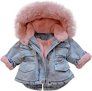 MOMKER Toddler Denim Fur Jacket Thicken Warm Fleece Lined Long Sleeve Hooded Jean Outwear Winter Coat for Girls