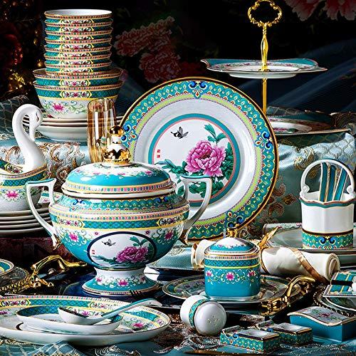 GAXQFEI Ceramica Dinnerware Set, Smalto High-End Bone China Stoviglie Set con Pot Della Minestra e Cereal Bowl | 74...