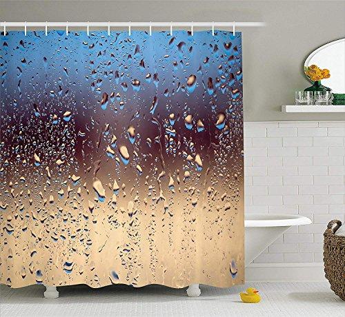 Nyngei Regen Duschvorhang Close Up Regentropfen auf Glas Natursprays Sphere Kontrastfarben Bild Stoff Badezimmer Dekor Set mit Blau Tan