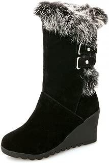 Women's Comfy Buckled Faux Fur Lined Wedge Mid Calf Snow Boots Winter Booties Medium Heels