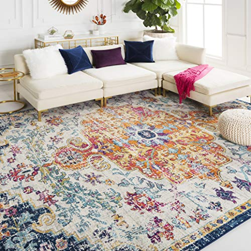 Mejor Maples Rugs Pelham Vintage Area Rugs for Living Room & Bedroom [Made in USA], 5 x 7, Grey/Blue crítica 2020