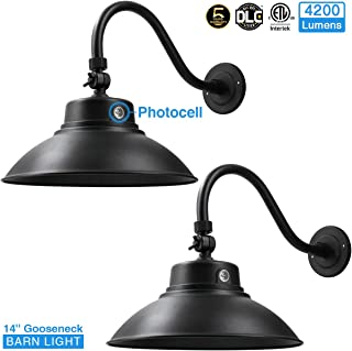 14in. Black LED Gooseneck Barn Light 42W 4200lm Warmlight LED Fixture for Indoor/Outdoor Use - Photocell Included - Swivel Head,Energy Star Rated - ETL Listed - Sign Lighting - 3000K Warmlight 2pk02