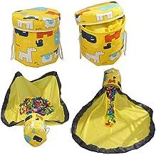 Toy Storage Bin,Toy Storage Basket Canvas Storage Bucket Quick Collapsible Canvas Bin with Play Mat for Kids Room Toy Orga...