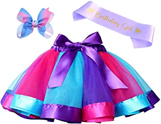 Layered Rainbow Tutu Skirt Costumes Set with Hair Bows Clips and Satin Sash for Girls Birthday Party Dress up (Purple/Blue/Rose Rainbow, M,2t~4t)