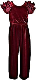 6f9ad836b6e Bonnie Jean Girls Stunning Flutter Sleeve Velvet Burgundy Stretch Holiday  Jumpsuit -