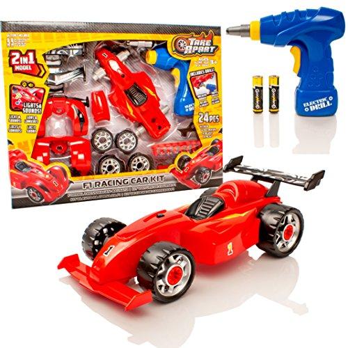 Take Apart Kit de Juguete 2 en 1 F1 Coche de Carreras de Juguete - Construye tu Propio Kit de Coche - Luces y Sonidos