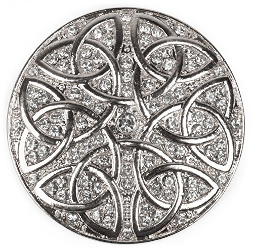 styleBREAKER Magnetic Jewellery Pendant Rhinestone with Celtic Knot Ornament Pattern for Scarves, Shawls or Ponchos, Brooch, Ladies 05050038, Color:Silver