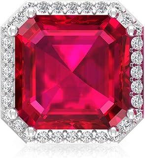 6.3 Ct Ruby Glass Filled Solitaire Earring, IJ-SI Diamond Stud Earring, Asscher Shape Birthstone Mother Earring, IGI Certified Diamond Bridal Earring, Screw Back