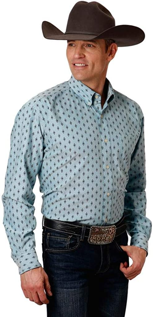 Free shipping anywhere in the nation Roper Bargain Apparel Mens Blue Navy Shirt Button Print