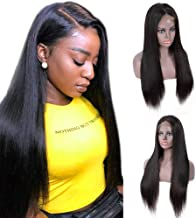 IUEENLY Brazilian Straight Lace Front Wigs Human Hair 13x4 Lace Front Wig For Black Women Pre Plucked with Baby Hair Natural Black 150% Density (24inch)