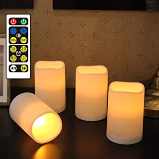 WRalwaysLX Flameless Candles, Remote Control Candles Decorative Outdoor and Indoor, Set of 4(2.5