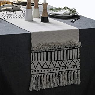 KIMODE Moroccan Fringe Table Runner 14 X 87 in, Bohemian Geometric Cotton Fabric Handmade Woven Tufted Tassels Table Linen Machine Washable Minimalist Home Decorative, Black and White