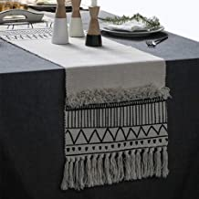 KIMODE Moroccan Fringe Table Runner 14 X 102 in, Bohemian Geometric Cotton Fabric Handmade Woven Tufted Tassels Table Linen Machine Washable Minimalist Home Decorative, Black and White