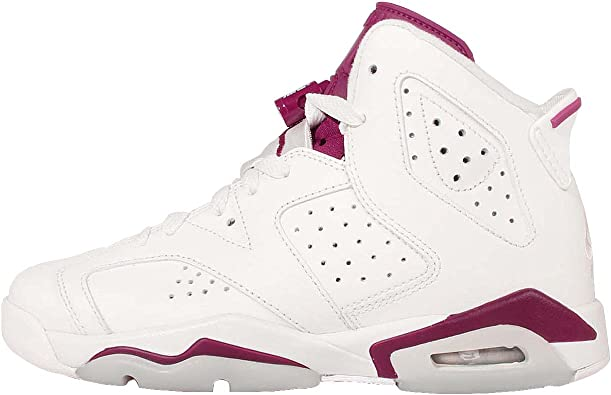 NIKE Air Jordan 6 Retro BG, Chaussures de Sport Fille, Blanc/Rouge ...