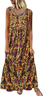 JULYKI Womens Long Dresses, Casual Sleeveless Deep V Neck Flowy Summer Beach Maxi Dress