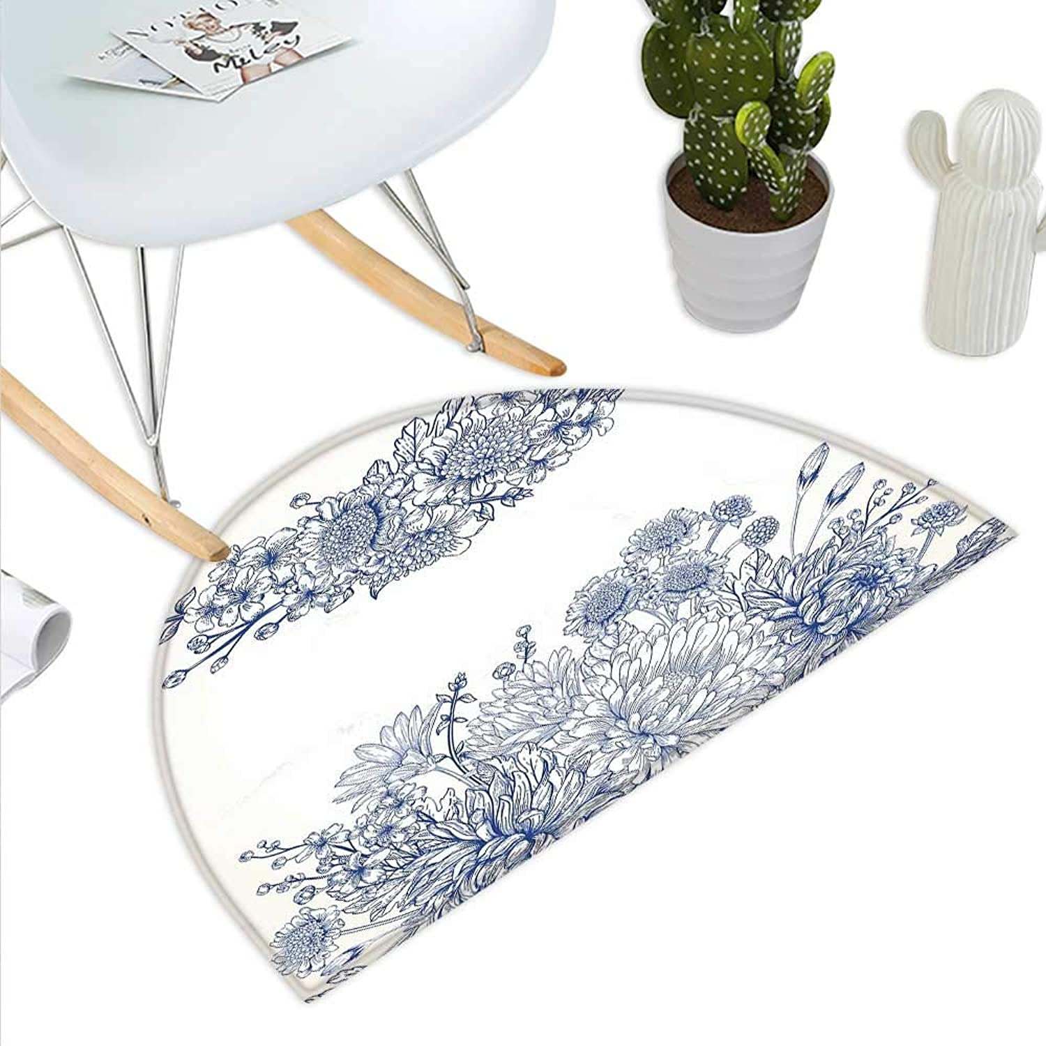 bluee Semicircle Doormat Artistic Floral Bouquet Corsage Carnations Chamomiles Bridal Wedding Anniversary Theme Halfmoon doormats H 35.4  xD 53.1  bluee White