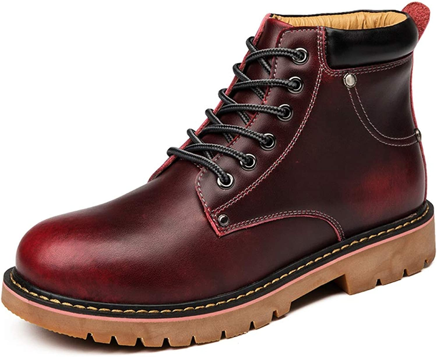 BND-SHOES ,Men's Fashion Boots Casual PU Leather High-top Outdoor Outsole Leisure boots Durable,Stand Wear and Tear (color   Wine Red, Size   8 UK)
