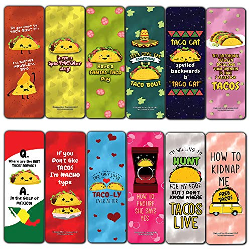Funny Tacos Puns Jokes Bookmarks (60-Pack) - Unique Stocking Stuffers Gifts for Boys & Girls, Unisex Adults – Cool Book Page Clippers Collection Set for Kids – Awesome Giveaways