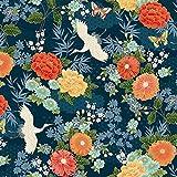 Patchworkstoff Michiko, japanische Kraniche und Blumen, 100