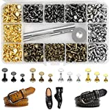 Leather Rivets Kit 420 Sets Double Cap Brass Rivets Leather Studs with 3PCS Setting Tools for Leather Repair and Crafts, 4 Colors and 3 Sizes Jetmore