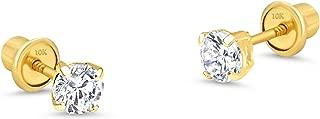 10k Yellow Gold Basket Round CZ Cubic Zirconia Solitaire Children Stud Screwback Baby Girls Earrings