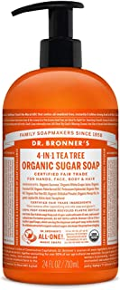 Dr. Bronner's - Organic Sugar Soap (Tea Tree, 24 Ounce) - Made with Organic Oils, Sugar and Shikakai Powder, 4-in-1 Uses: Hands, Body, Face and Hair, Cleanses, Moisturizes and Nourishes, Vegan