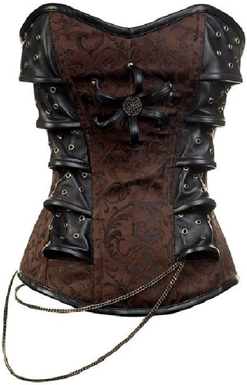Brown Brocade Leather Goth Steampunk Bustier Waist Training Overbust Corset Top