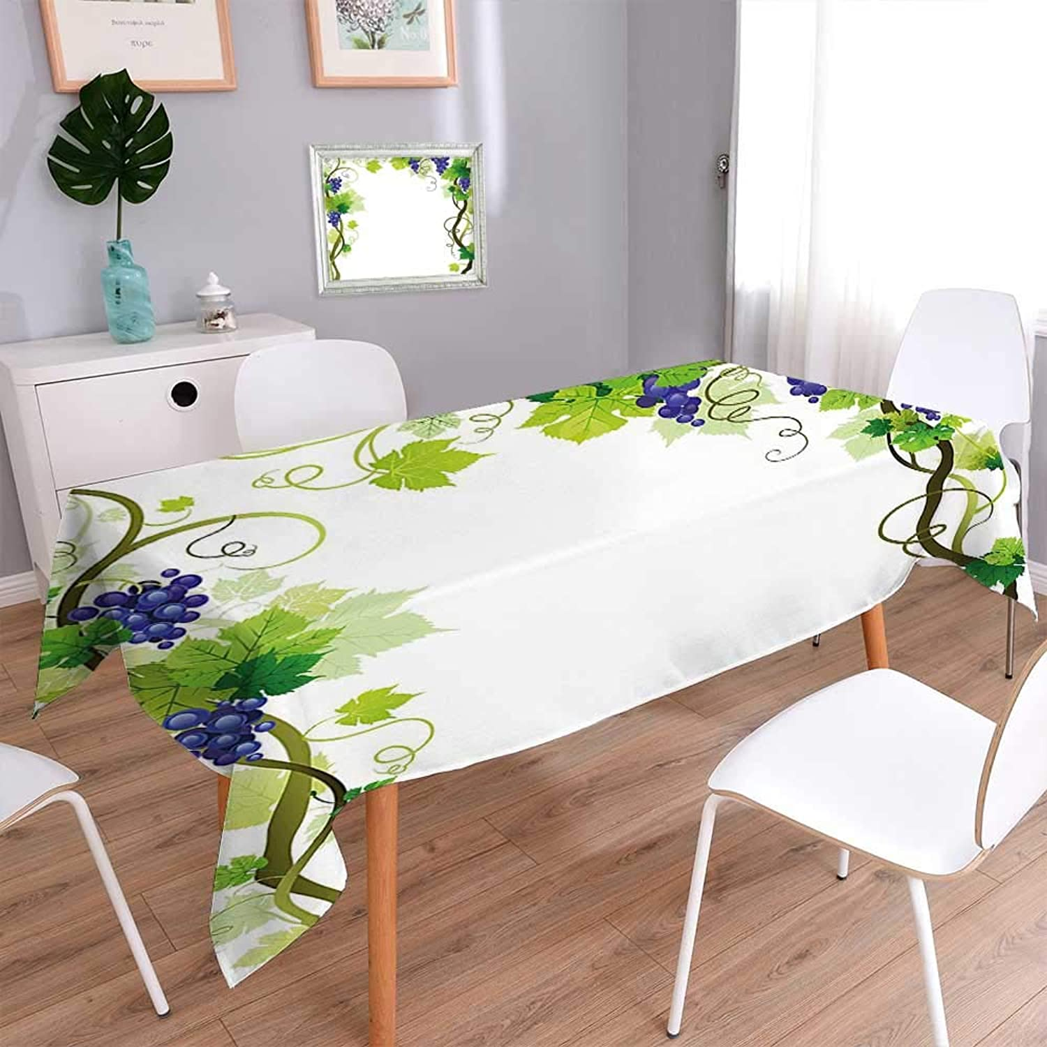 100% Polyester, EcoFriendly and Safe with Swirled Leaf Fresh Fruit Garden Harvest Season Wine Growth Green Multi colors & Sizes 60 x140