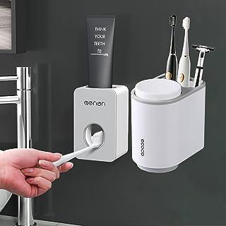 SIMIN Distributeur Automatique de Dentifrice, Porte-Brosse à Dents Mural, Support de Stockage de Dentifrice, Distributeur ...