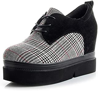 [サニーサニー] レディース 厚底靴 スニーカー 9.5センチup チェック柄 可愛い レースアップ コンフォート 滑り止め オシャレ インヒール 美脚 履きやすい カジュアル シークレットシューズ 通学 歩きやすい