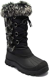 Stylish & Comfort Women's Fully Fur Lined Classic Mid-Calf Winter Boots Lace Up Warm Shoes