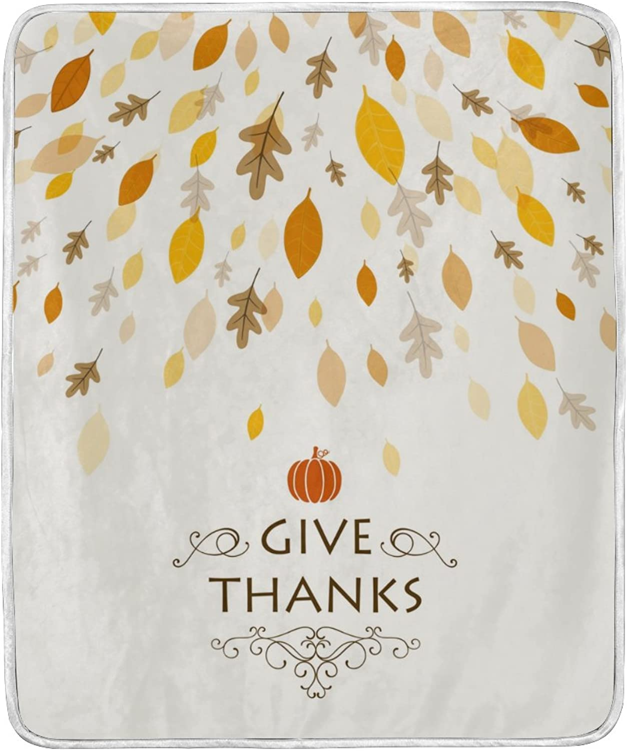 U LIFE Thanksgiving Day Turkey Pumpkin Soft Fleece Throw Blanket Blankets for Nap Couch Bed Kids Adults 50 x 60 inch