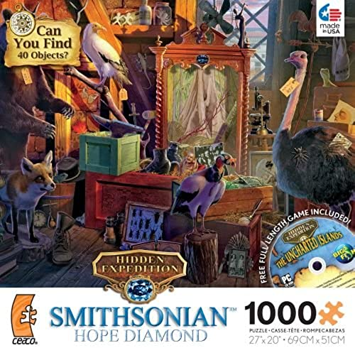 Ceaco Hidden Expedition Smithsonian Hope Diamond Owl Tower 1000 Piece Jigsaw Puzzle with CD Game