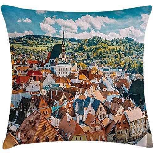Europäische Dekokissen Kissenbezug, Pastorale Ansicht der Tschechischen Republik Herbstsaison Europäische Gotische Baukultur, Kissenbezug, Multicolor, 45X45Cm