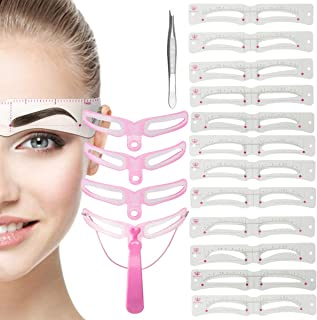 Madholly Eyebrow Stencils Shaping Kit- 12pcs Eyebrow Stencil Card+ 4pcs Plastic Eyebrow Drawing Shaping Template with 4 St...
