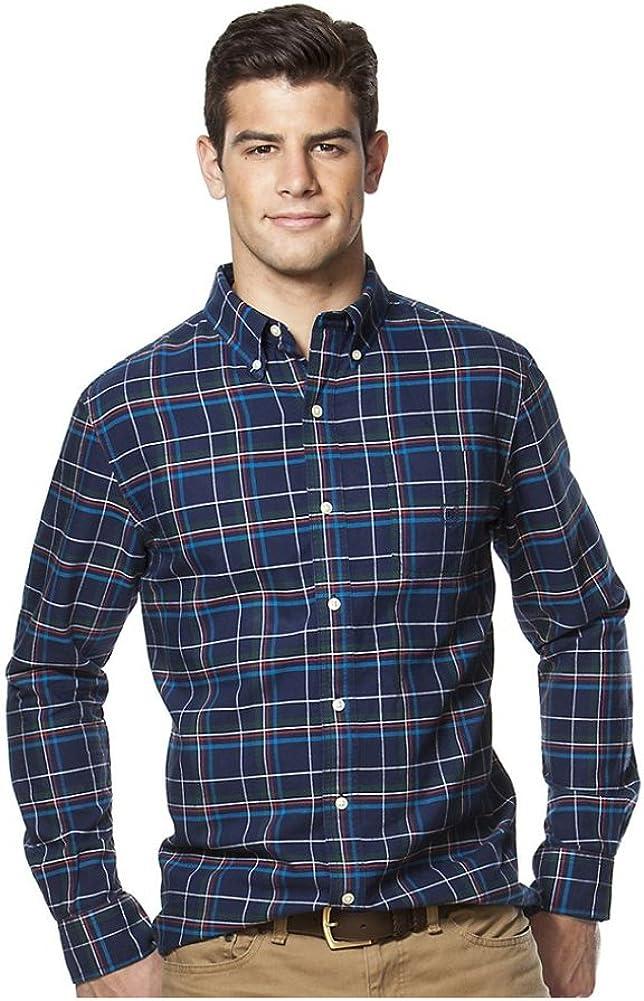 Chaps Men's Big & Tall Plaid Classic-Fit Oxford Button-Down Shirt, Newport Navy