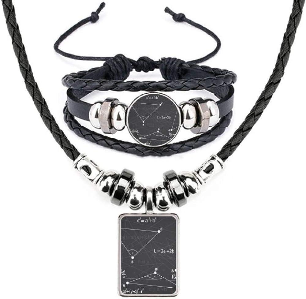 Grey Angle Mathematical Formula Calculus Leather Necklace Bracelet Jewelry Set