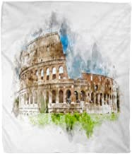 Elma Banju Throw Blanket Watercolor Painting of The Colosseum Rome Italy Green Grass Foreground 50x60 Inches Warm Fuzzy Soft Blanket For Bed Sofa 60x80IN