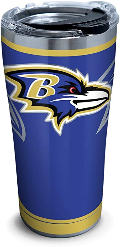 Tervis 1299987 NFL Baltimore Ravens Rush Stainless Steel Tumbler With Lid 20 Oz Silver