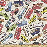trucks fabric - Ambesonne Cars Fabric by The Yard, Transport and Logistics Theme with Lorry Cargo Truck Muscle Car and Taxi Boy Toys, Decorative Fabric for Upholstery and Home Accents, 1 Yard, Dark Coral