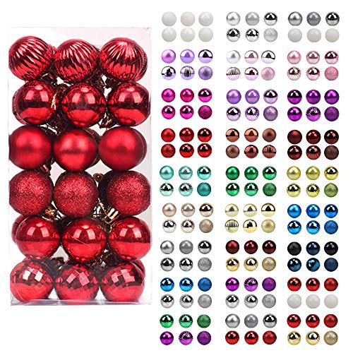 walsport Christmas Balls Ornaments for Xmas Tree, 36ct Plastic Shatterproof Baubles Colored and Glitter Christmas Party Decoration 1.6inch Set (Red)